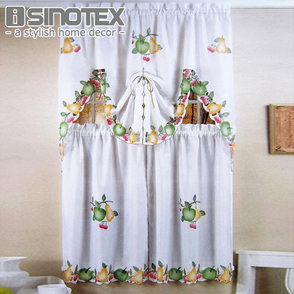 Kitchen Curtains At Big Lots: Fruit Printing Roman Curtain Sheer Window Valance Coffee