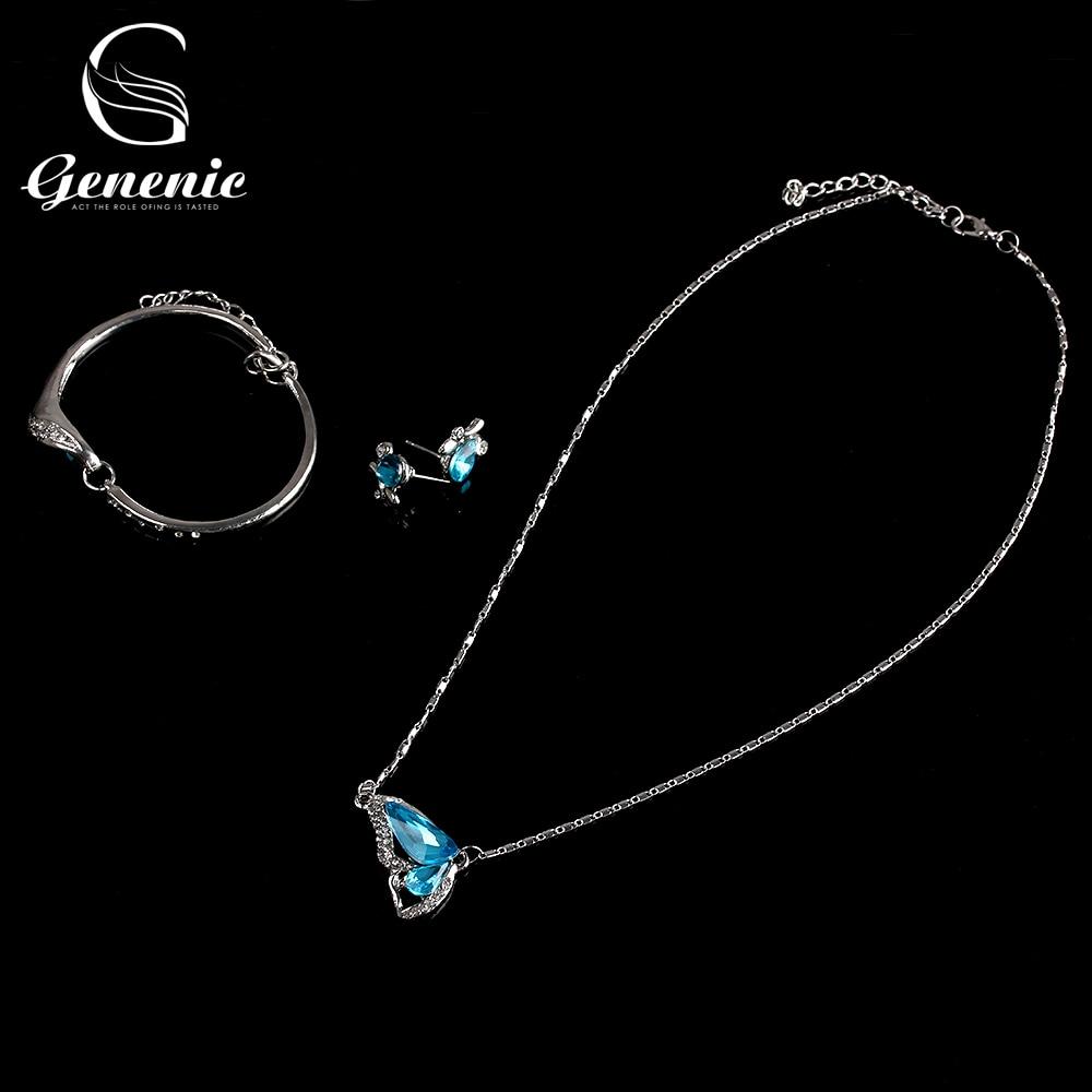 Women Fashion Butterfly Jewelry Set Necklace Earring Bracelet Crystal Rhinestone Silver Plated Elegant Blue Jewelry