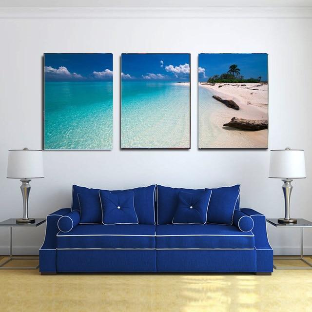 Tienda Online 3 paneles cielo azul playa paisaje imágenes ...