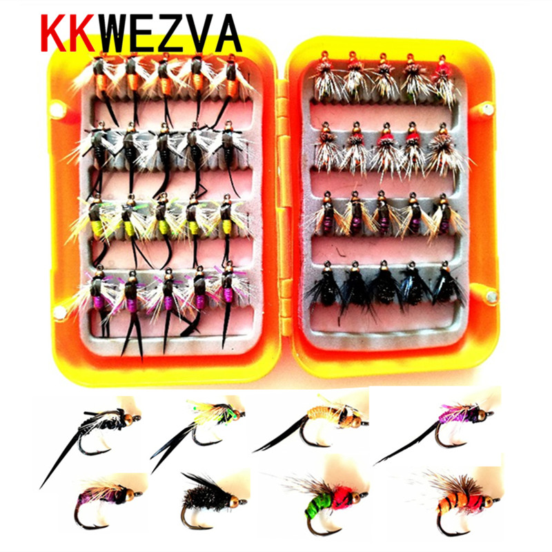 KKWEZVA 40pcs with box Fishing Lure fly Insects different Style Salmon Flies Trout Single Dry Fly Fishing Lures Fishing Tackle стоимость