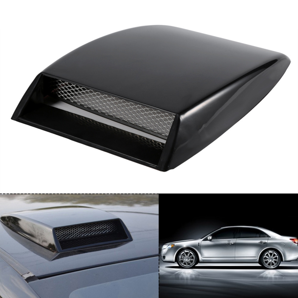 Black Universal Car Decorative Air Flow Intake Scoop ABS and Aluminum Grille Mesh Bonnet Vent Cover Hood Sticker Car Styling