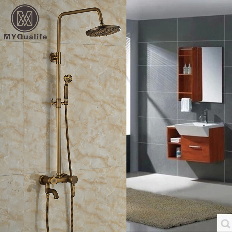 Antique Brass Bathroom Rain Bath Shower Faucet Set W/ 8inch Round Shower Head +Handheld Shower Single Handle