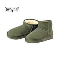 Genuine Leather Snow Boots YZY Zapatos Mujer Ankle Boots For Women Winter Boots Botas Femininas Winter