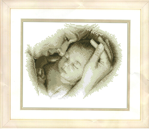 Peaceful Baby Birth Record In Counted Cross Stitch The Loving Bond Between Mother And Child Small Pattern 14ct Embroidery Set