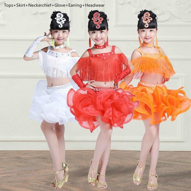Tassels Child Latin Dance Dress for Girl Competition sequin Ballroom Dancing Dress for Kids Lace Tango Samba Cha Cha Dancewear 9
