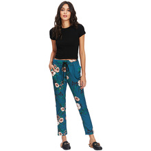 Swarlooke Summer 2018 New Arrival Women's Casual Trousers Ankle-Length Pants Elastic Wasit Floral Print Female Pencil Pants(China)