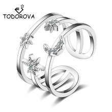 Todorova High Quality Star Moon Wedding Rings for Women Cubic Zircon Multi-layered Finger Female Jewelry Adjustable Size