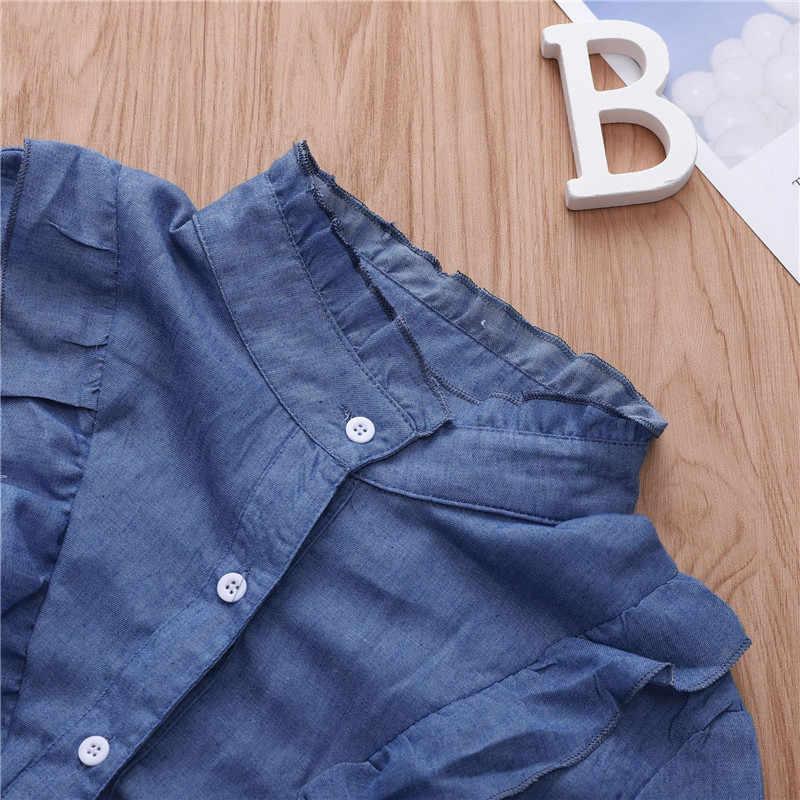 Harajuku קשר קדמי ג 'ינס חולצה נשים 2019 קיץ יבול למעלה נקבה קוריאני מזדמן חולצת ג' ינס קצר שרוול W3