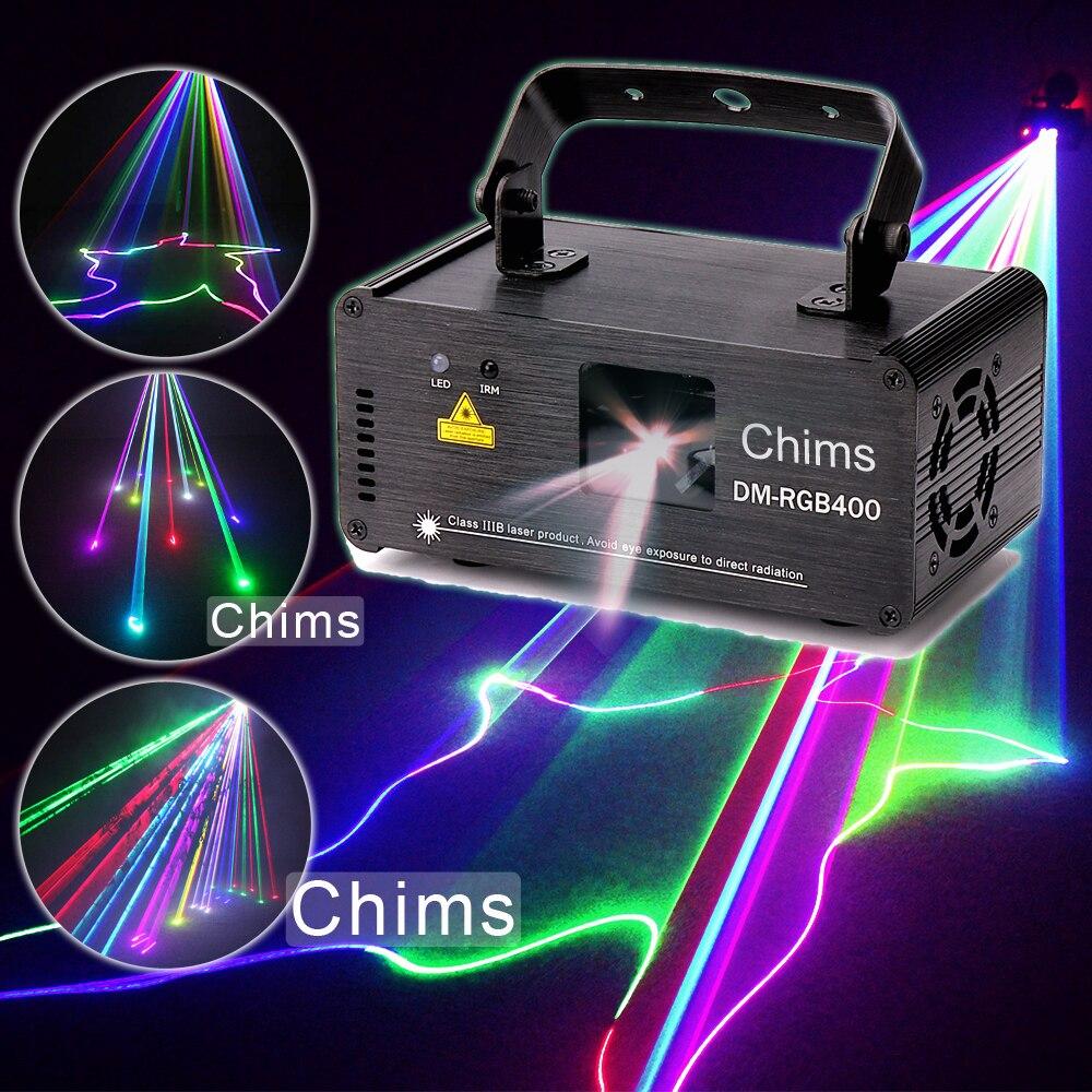 Chims DMX512 Control láser etapa de iluminación RGB escáner proyector coloridos potente brillante haz de luz 400 MW Fiesta del canal de vacaciones