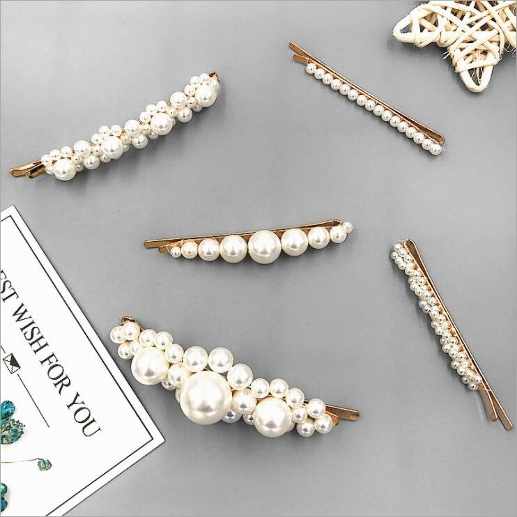 2019 Pearl Hair Clip Snap Barrette Stick Hairpin Hair Styling Accessories For Women in Hair Clips Pins from Beauty Health