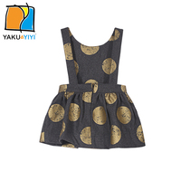 Back Zipper Children Dress Girls Clothing Sleeveless Baby Girls Bubble Overalls Dress YKYY YAKUYIYI Golden Poka