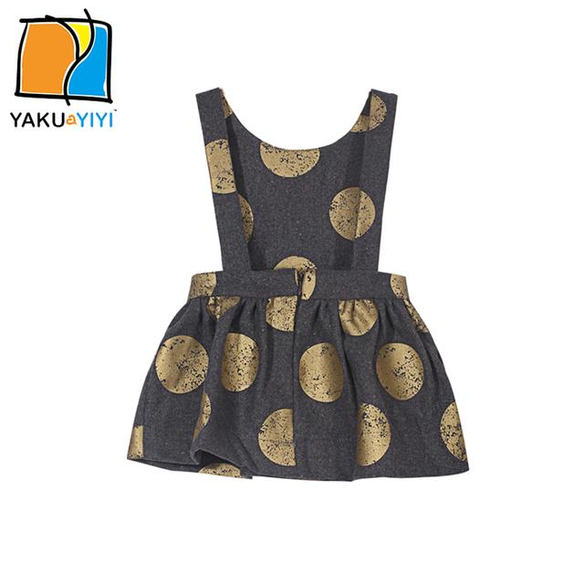 Ykyy yakuyiyi ouro dot meninas vestido de volta zipper crianças vestido roupas meninas sem mangas bolha meninas do bebê macacão vestido