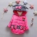 Девушки зимнее пальто хлопка мягкий женский папки детские утолщенной круговой точка мультфильм хлопок куртка детская куртка с капюшоном