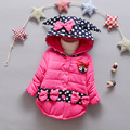 Niñas abrigo de invierno de algodón acolchado bebé hembra carpeta engrosada chaqueta de algodón chaqueta con capucha de los niños de dibujos animados de punto circular