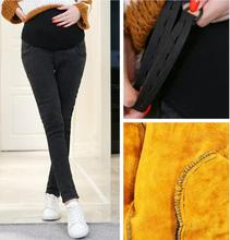 Autumn and winter pregnant women plus velvet thick trousers stomach lift denim pants wear