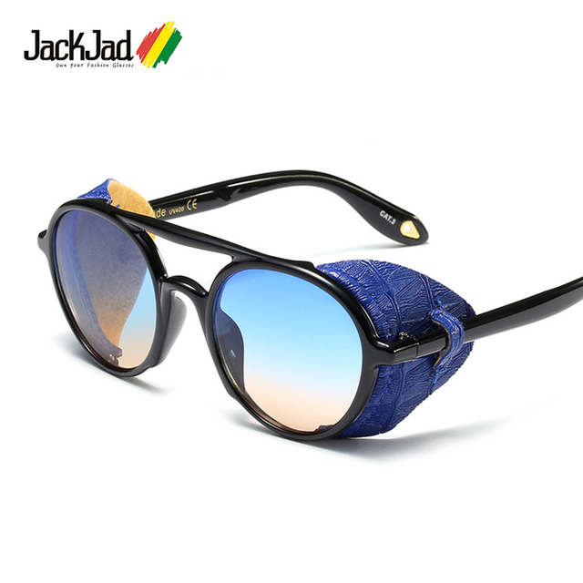 1573a206a7ce JackJad 2019 Cool Fashion SteamPunk Style Round Sunglasses Leather Side  Shield Brand Design Sun Glasses Oculos De Sol 97575