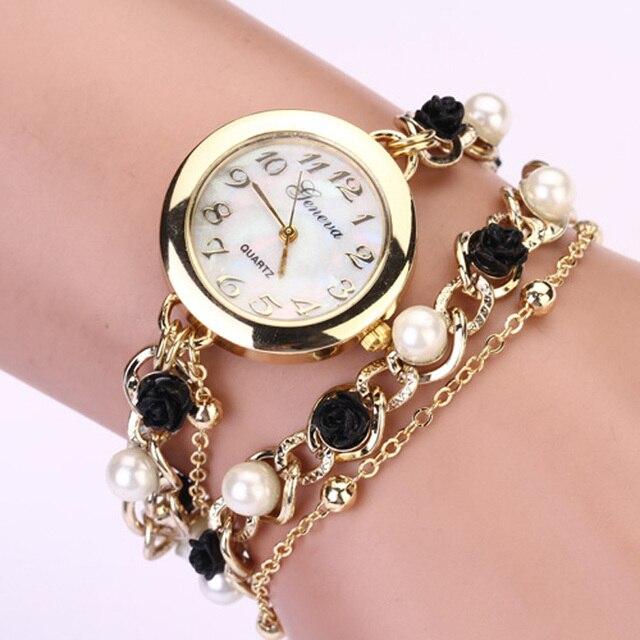 97e92f31952 Aimecor Simple Faux Pearl Flower Chain Dial Watch Bracelet Wrist Analog  Quartz Simple Watches montre femme