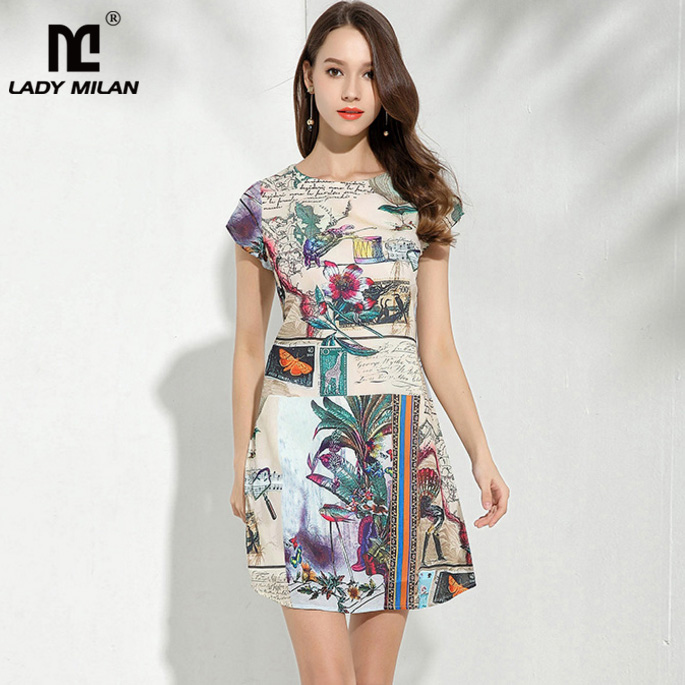 Lady Milan Womens O Neck Short Sleeves Printed High Street Fashion Summer Casual Dresses