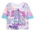 2016 Mujeres de la Voga Camisa corta Harajuku T-shirt Unicornio Carrusel Kawaii Mujeres Gráficos/Girls One Size Estilo Short Tees Verano Tops