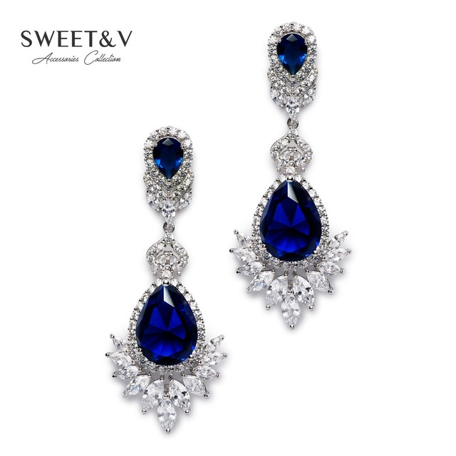 Romantic cubic zirconia bridal dangle earrings long drop crystal romantic cubic zirconia bridal dangle earrings long drop crystal chandelier earring jewelry gifts for wedding aloadofball Image collections