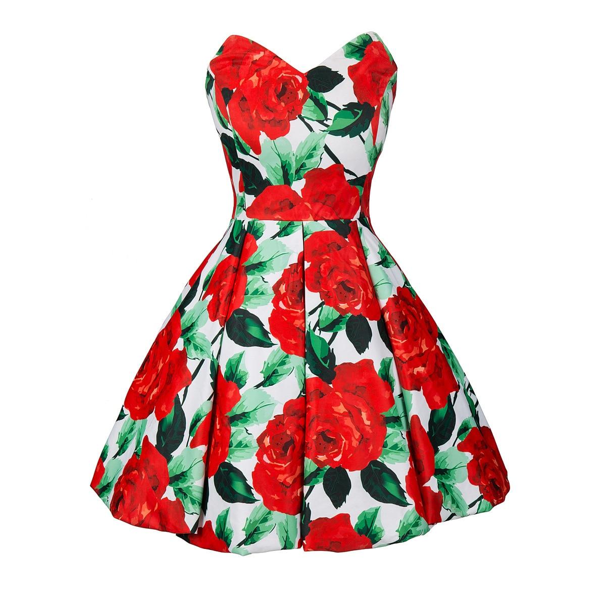 2018 Для женщин Ретро мода платье Милая с плеча розы Для женщин бальным вечерние платье Femme Vestidos плюс Размеры S-4XL