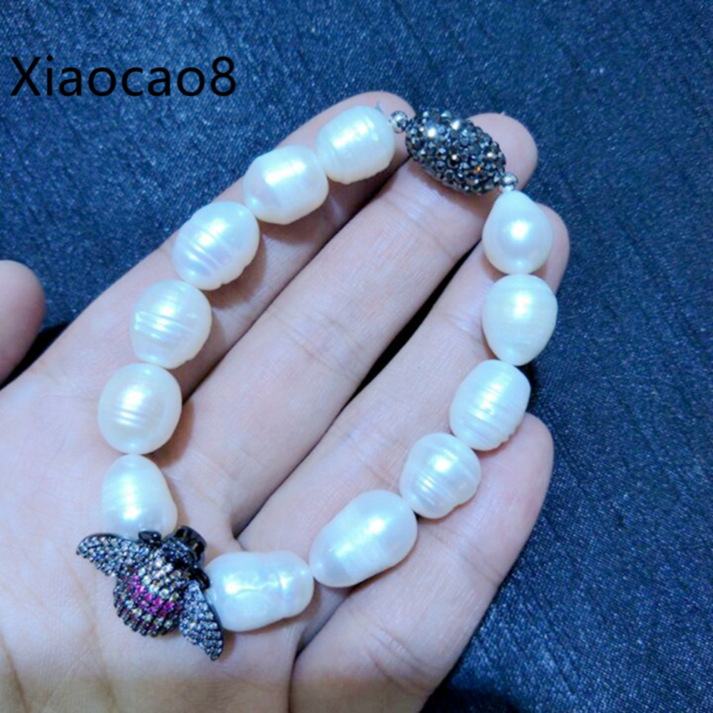 Nature Rice Pearl Bracelets with Insect Unisex High Quality Elastic Rope Charm Bracelets Bangles Luxury Fashion Jewelry Gifts