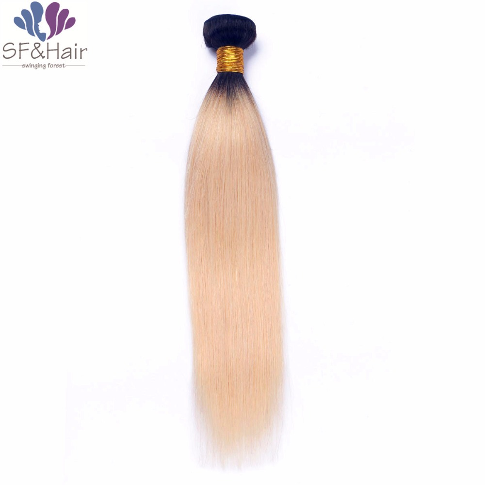 #1B/613 Ombre Human Hair Peruvian Straight Virgin Hair Two Color Tone 1 Bundle Only Platinum Blonde With Dark Roots Hair Bundles