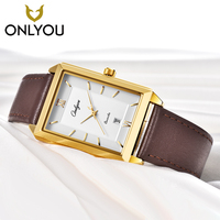 Onlyou Newest Men Watch Waterproof Quartz LeatherWatch Lover Watches Square Luxure Dress Ladies Watches Men Clock