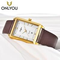 ONLYOU Top Brand Luxury Men Fashion Gold Watches Women Leather Casual Quartz Watch Dress Bracelet for girl relogio masculino
