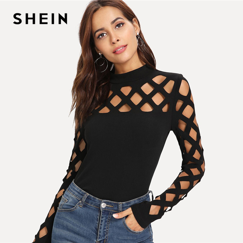 SHEIN Streetwear Party Elegant Sexy Workwear Square Cutout Shoulder Fitted Skinny Tee Autumn Women Office Lady T-shirt Top