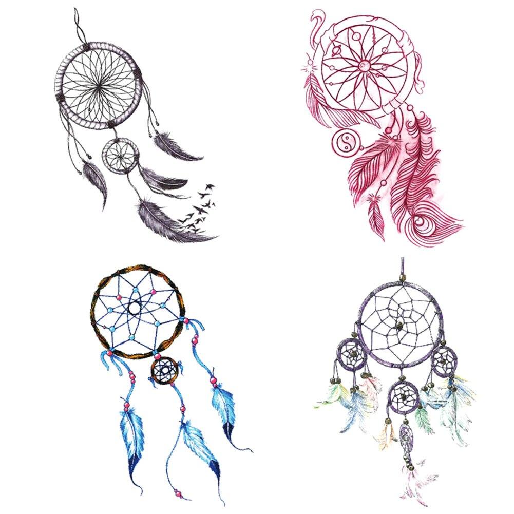 1 Sheet Dreamcatcher Decals Waterproof DIY Temporary Tattoo Sticker Women Body Art Dream Catcher Indian Feather Tattoo line art