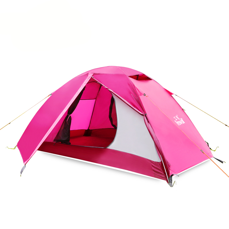 New 3 Colors Hewolf Brand 2 Person Outdoor Pole Camping Tent 4 Seasons Quality Hiking Rainproof Double Layer Family Picnic Tents outdoor camping hiking automatic camping tent 4person double layer family tent sun shelter gazebo beach tent awning tourist tent
