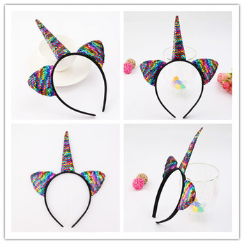2018 1PC Cute Cartoon Sequins Glitter Unicorn Hairband Rainbow Unicorn Cat Ears Kid Party  Headband Hair Accessories For Women