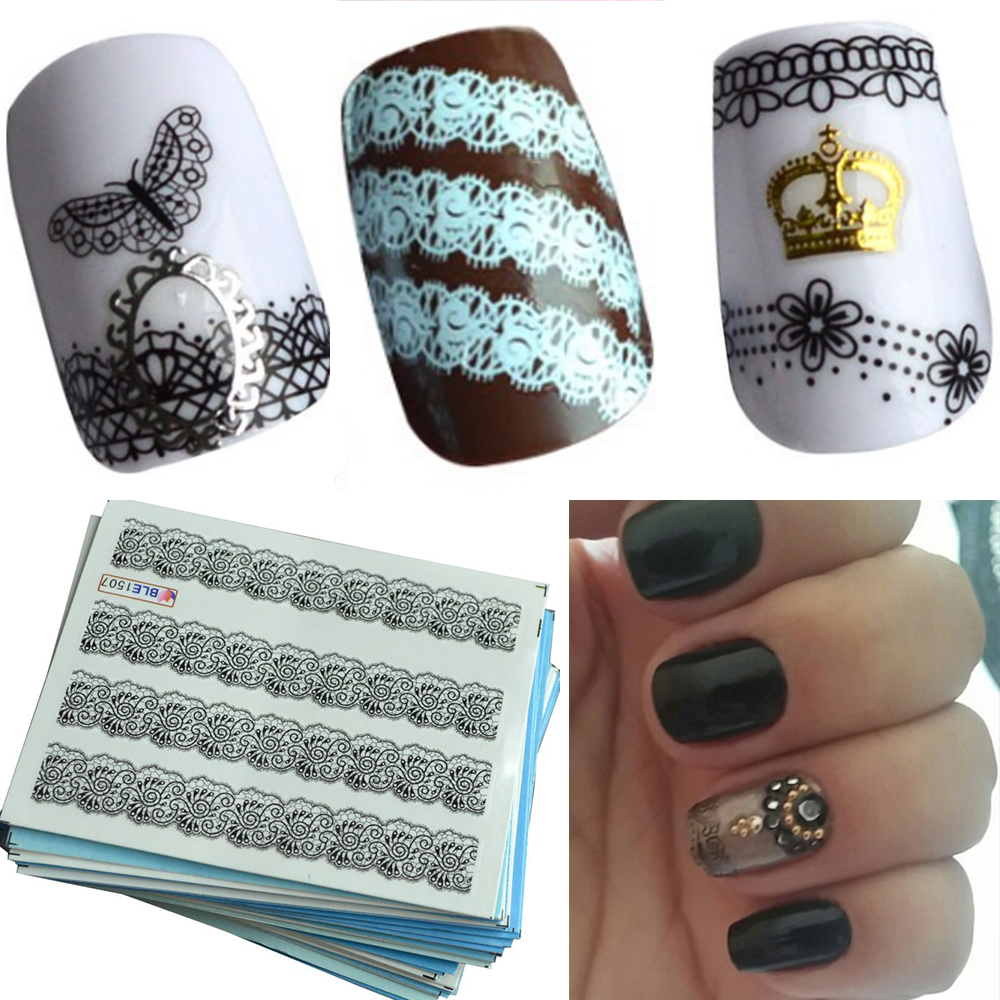 50pcs  Water Transfer Black White Lace of Nail Art Decals Sticker on Nails Decorations Salon Care Manicure Tools SANC180 art of war