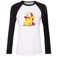 Kül Şapka Pikachu Ile Oynamak giymek El Silah T Gömlek Kadınlar Kawaii Japon Pokemon Anime T-shirt Lady Kız Tshirt Cospaly Hayranları Tee