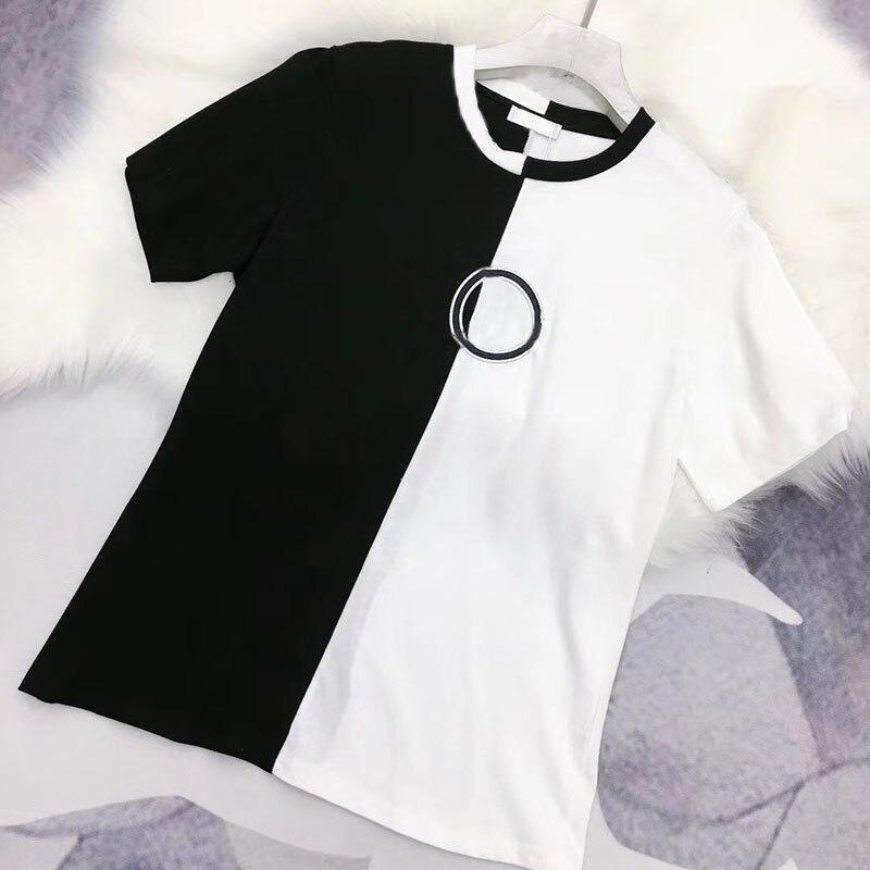 Chic couleur bloc blanc et noir Patchwork haut d'été t-shirt broderie t-shirt style décontracté pour les femmes 2019 o-cou à manches courtes