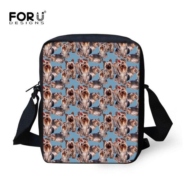Forudesigns Yorkie Print Children School Bags Boys Small Messenger Bag For Kids Cartoon Printing Bookbags