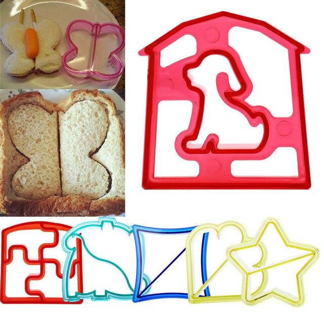 6 shaps dinosaur dog butterfly star shape bread sandwich cutter mold