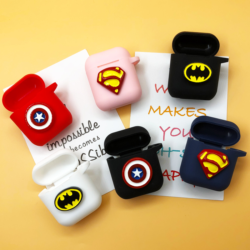 DIY Handmade Cartoon Batman Superman Capatain America Silicone Case For Apple Airpods Unique Cartoon Headphone Case with Rope