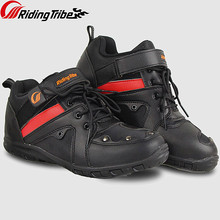 Men Woman Motorcycle Boots Microfiber Leather Anti skid Anti Collision Wear resistant Riding Foot Protective Racing Shoes A006