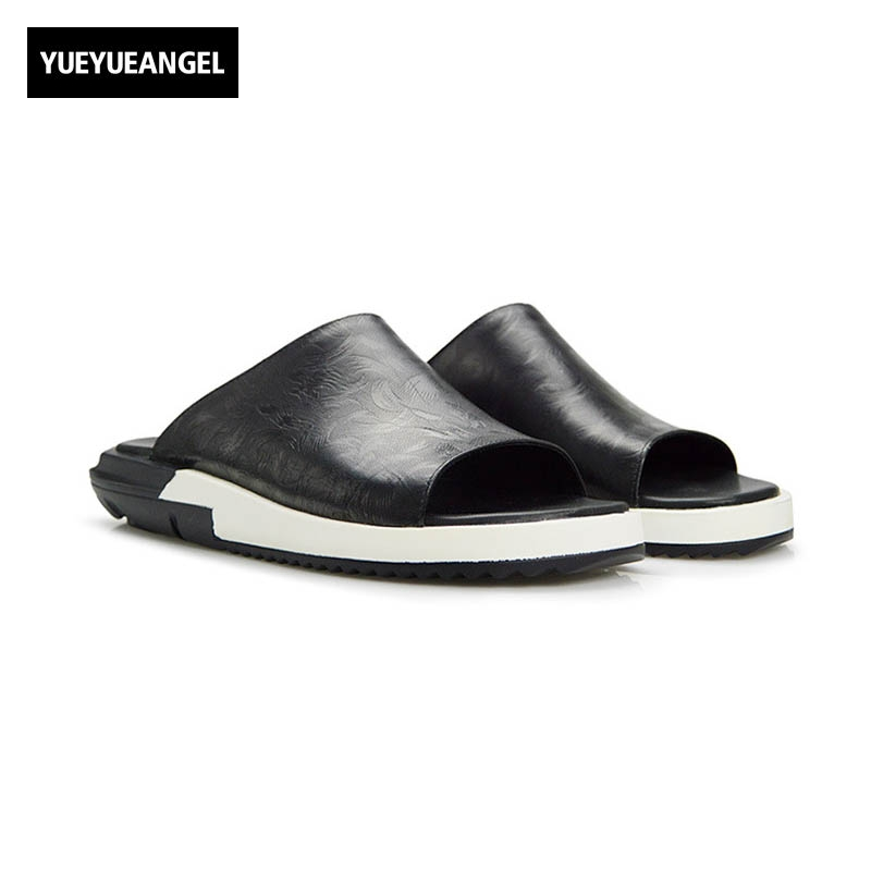High Quality Brand Fashion Mens Sandals Slip On Genuine Leather Cow Flat Casual Shoes Male Big Size Slippers Beach Flip-flops slip on men casual shoes male sandal new fashion genuine leather low heel high quality brand korean style thick bottom plus size