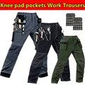 Mens multi-bolsos calças de trabalho com almofadas eva joelho cinza calça de trabalho desgaste do trabalho mecânico de carga calça calça de trabalho livre grátis