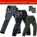 Mens multi pockets work trousers with eva knee pads grey work pant work wear mechanic pant cargo work pant free shipping