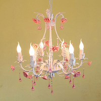 High Quality Products Pastoral Style Rose Flower Iron 220v Children S Bedroom Pink Crystal Chandelier E14