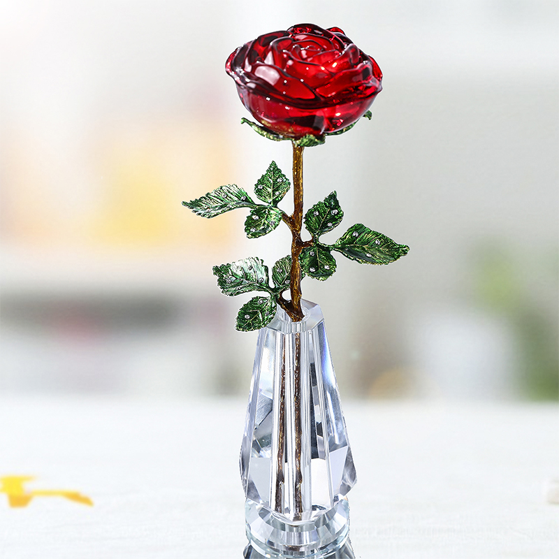 Birthday:  H&D Crystal Red Rose Flower with Green Leaves & Crystal Vase Stand Romantic Christmas Valentine's Day Birthday Gift Home Decor - Martin's & Co