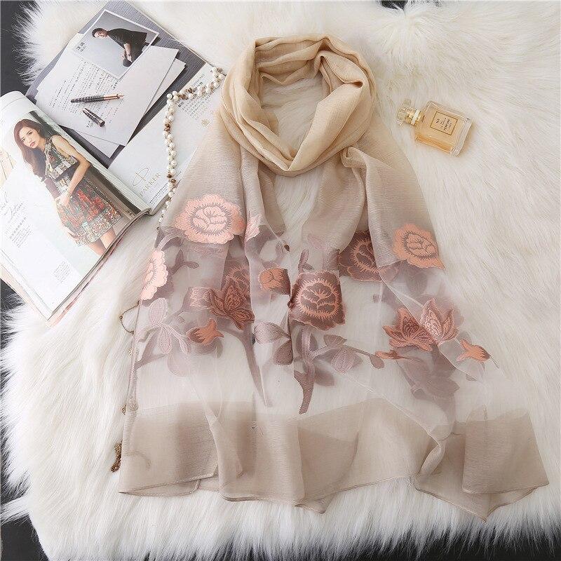 Lakysilk Brand   Scarf   Women Lace Rose Floral Long Shawl Autumn Echarpe Organza   Scarves   Ladies Girls Elegant Hijab   Scarf     Wraps