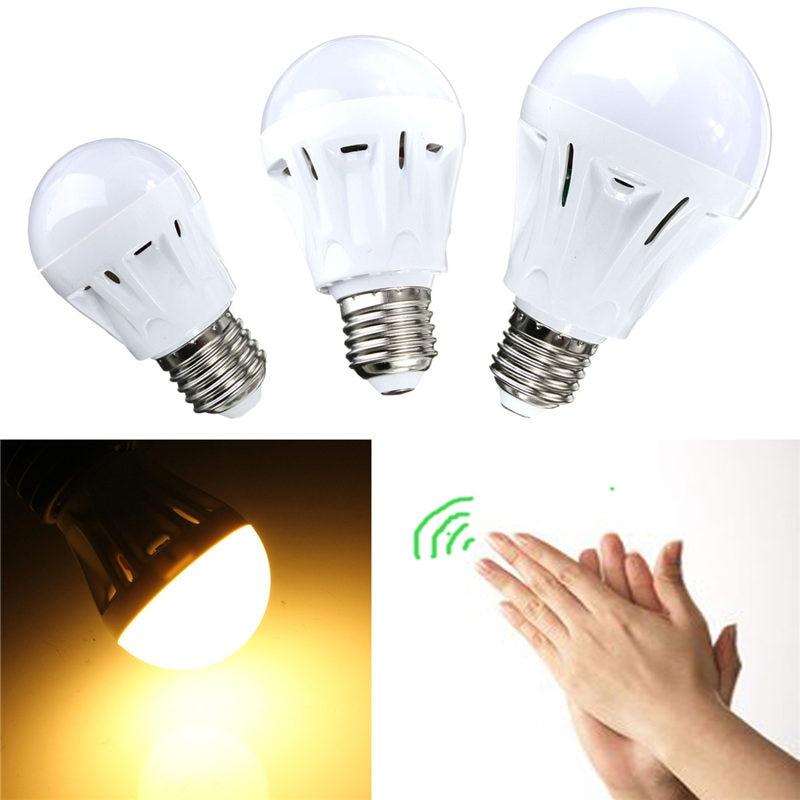 SMD 27 LED Light Bulb E27 3W/5W/7W Spotlight Bulb Sound Light Control Voice Sensor Detect White Warm White Lamp Lighting 220V