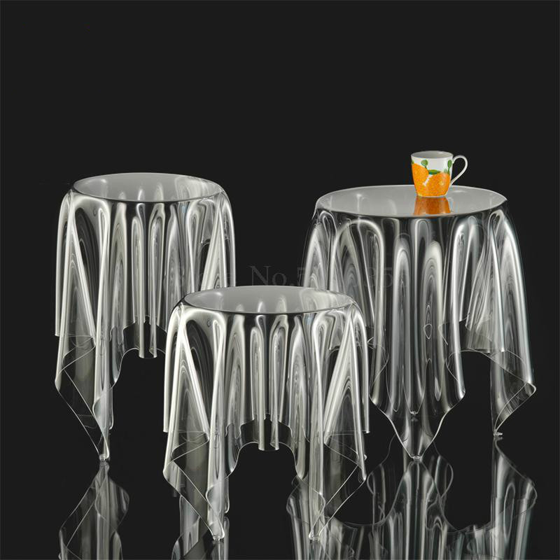 Tablecloth Floating Coffee-Table Round Acrylic Transparent Side-To-Discuss Magic Creative