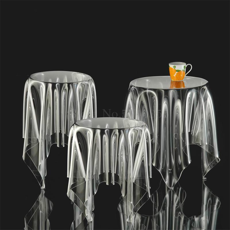 Прозрачный журнальный Столик Круглый акриловый привиденный стол плавающая Волшебная скатерть креативная сторона для обсуждения журнального стола для отдыха