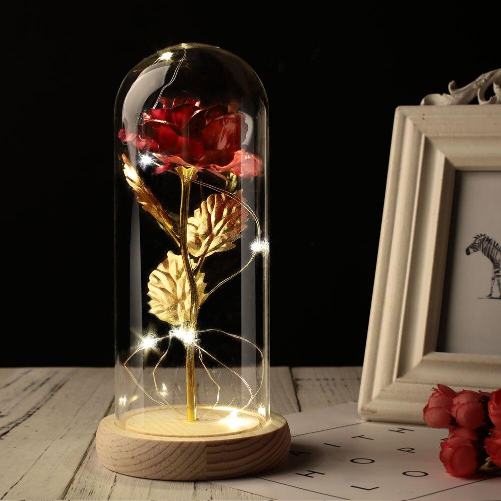 Светодиодный стеклянный чехол с вечным цветком, 24 K, золотые вечерние подарки, сохраненное цветочное свадебное украшение Роза из золотистой фольги, романтические - Цвет: Red